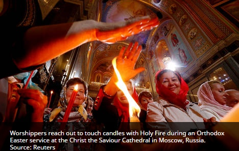 holy fire in Moscow